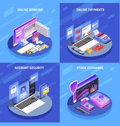 online banking isometric concept vector image