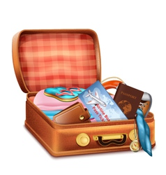 Open Suitcase with Clothes vector