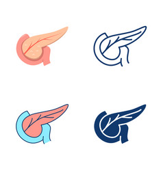 pankreas icon set in flat and line style vector image