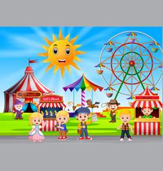 People having fun in amusement park vector