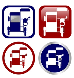 Philippine tricycle sign icon set vector