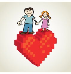 Pixel Heart Couple vector image