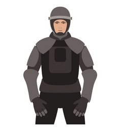 police in armor flat style vector image
