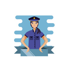 Police officer female with ribbon avatar character vector