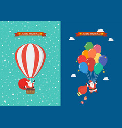 poster santa claus hanging on balloon vector image