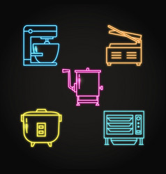 professional kitchen equipment icon set in neon vector image