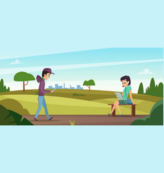 reading in park boy walk on nature girl sitting vector image