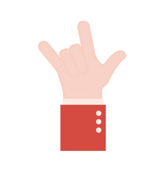 Rock hand sign language flat style icon vector
