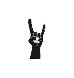 rock roll silhouette hand heavy metal black vector image
