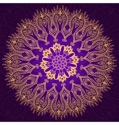 Round vintage violet and gold pattern vector image
