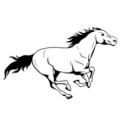 Running horse black and white vector