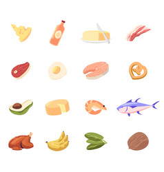 set icons cheese oil in bottle and butter vector image