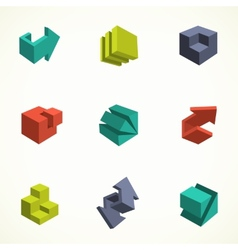 Set of 3d icons with abstract vector image