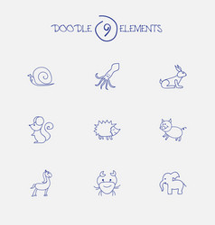 Set of 9 editable zoo icons includes symbols such vector