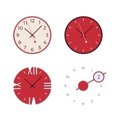 Set of four retro wall clocks vector