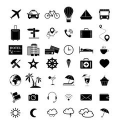set of travel black 42 icons vector image