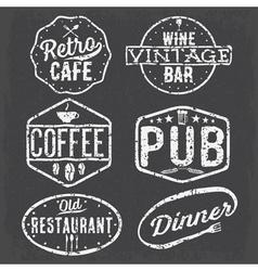 set of vintage cafe pubwine bar and restaurant vector image