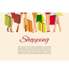 Shopping girl legs poster vector image
