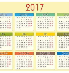Simple calendar of 2017 year vector image