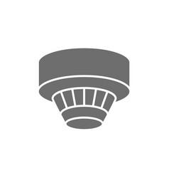 Smoke detector alarm system grey icon isolated vector