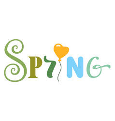 Spring lettering text for greeting card isolated vector