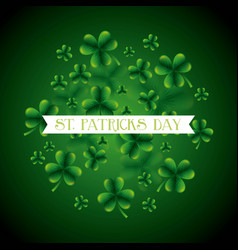 st patricks day card green clovers falling white vector image