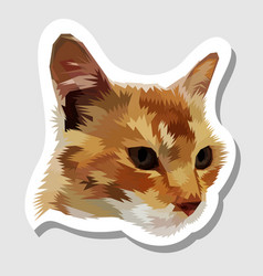 sticker cat head on geometric pop art style vector image