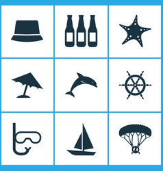 sun icons set with boat starfish umbrella and vector image