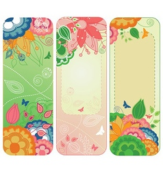 Sweet Floral Banners or Bookmarks vector image vector image