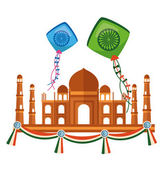 Taj mahal indian mosque with kites flying vector