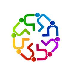 Teamwork people contributing icon vector