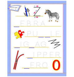 Tracing letter z for study english alphabet vector