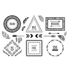 Tribal frames american indian ethnic frame vector