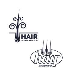 Two hair transplantation logo logotype templates vector