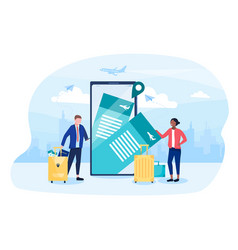 two travellers ordering travel tickets online vector image