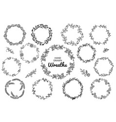 Vintage set of hand drawn rustic wreaths floral vector
