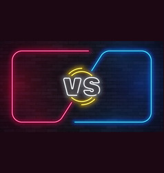 vs neon versus battle game banner with neon empty vector image