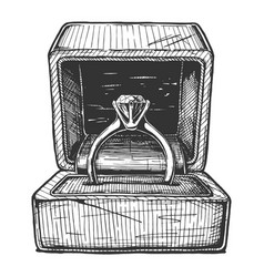 wedding ring in gift box vector image