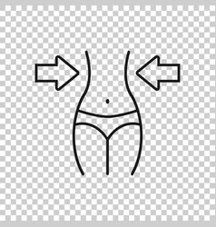 Weight loss icon in flat style belly on white vector