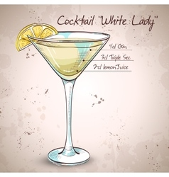 White Lady Cocktail vector