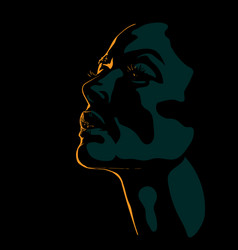 Woman face silhouette in contrast backlight vector
