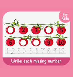 write each missing number vector image