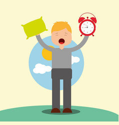 Young boy waking up holding pillow and clock vector