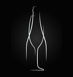 champagne glass logo champagne bottle on black vector image vector image
