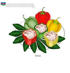 Dolma or Azerbaijani Stuffed Meat in Bell Peppers vector image vector image