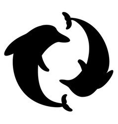 dolphin arranged in a circle silhouette vector image