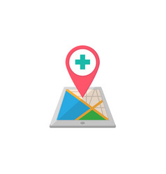 hospital map pointer flat icon mobile gps vector image vector image