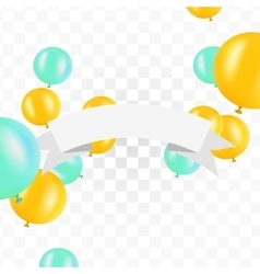 White ribbon with balloons on transparent vector image vector image