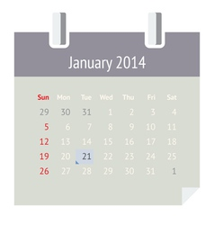 Calendar page for January 2014 vector image vector image