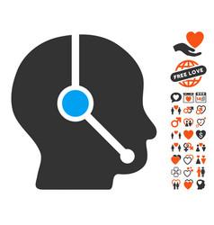 call center operator icon with valentine bonus vector image
